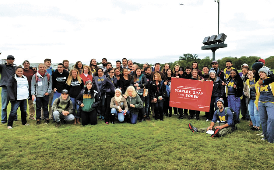The UVM Catamount Recovery Program poses for a photo with recovery programs from other schools across the country at UNITE to Face Addiction Oct. 5, 2015. CRP began in 2010 and is located in Living Well on the first floor of the David Center.