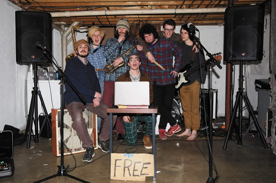 "SpringFest opener Juicebox rehearses their signature sound in a Hyde Street basement April 10. Juicebox, is a ""funky, jazzy-type, rappy group,"" vocalist Jacob Hartman, a junior, said."