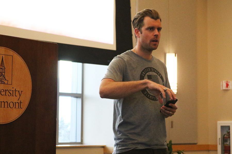 U.S. Olympian Alex Deibold gives a presentation to UVM students April 10 in the Silver Maple Ballroom. The bronze medalist visited with the non-profit Protect Our Winters which focuses on affecting systematic solutions to climate change.