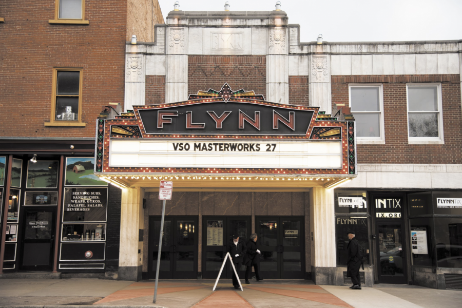 The+sign+of+the+Flynn+Center+for+the+Performing+Arts+on+Main+Street+advertises+the+show%2C%E2%80%9DVSO+Masterworks%E2%80%9D+April+27.+If+you+enjoy+classical+music%2C+Paddy+Reagan%2C+the+talent+buyer+for+ArtsRiot%2C+suggests+checking+out+the+Vermont+Symphony+Orchestra%2C+who+play+at+the+Flynn.