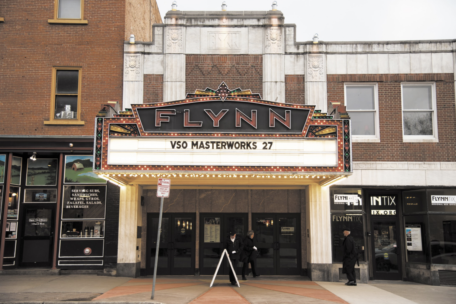 "The sign of the Flynn Center for the Performing Arts on Main Street advertises the show,""VSO Masterworks"" April 27. If you enjoy classical music, Paddy Reagan, the talent buyer for ArtsRiot, suggests checking out the Vermont Symphony Orchestra, who play at the Flynn."