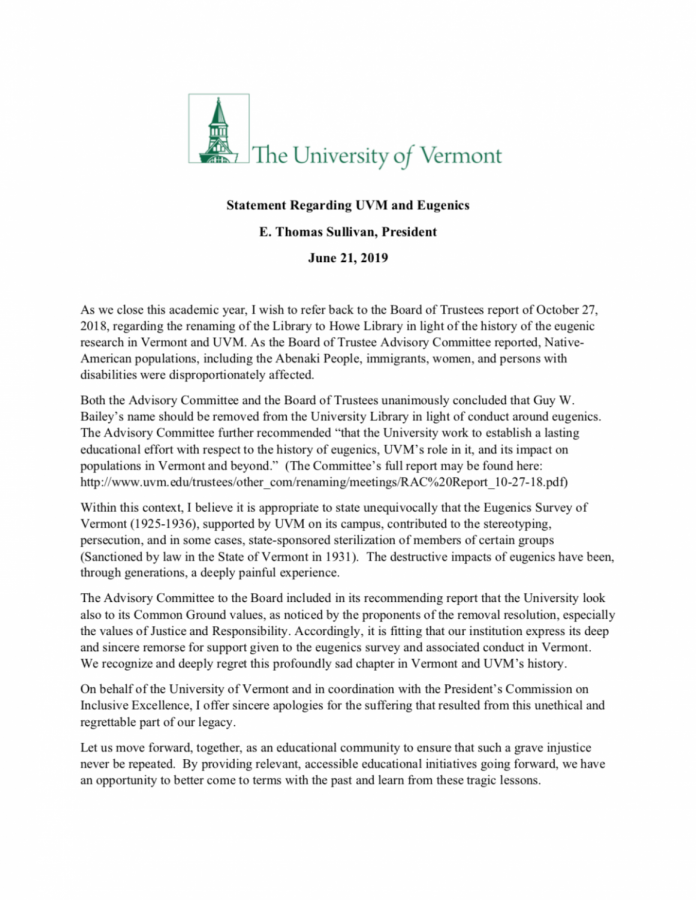 Sullivan's letter, which was sent to the UVM community via email June 21.