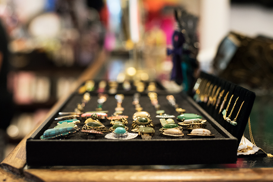 Rings%2C+earrings+and+necklaces+on+display+for+customers+in+Old+Gold.