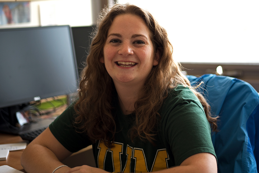 SGA President Jillian Scannell, a senior, smiles while her photo is taken, Sept. 4. After winning the election that produced the biggest voter turnout seen in years, Scannell began her presidency with the intent of making herself more available for all students.