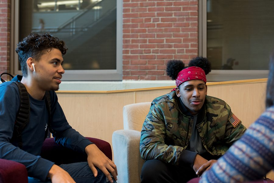 (Left to right): Seniors Rafael Peralta and Kevin Borges talk about their podcast, No Cap, in the Davis Center atrium, Sept. 19. Although advertised as mostly jokes, No Cap tries to find a balance between humor and serious topics.