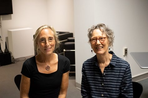 (Left to Right) Poets Sara London and Sue Burton pose for pictures after reading their work at Painted by Word at Fleming Museum, Sept.12.