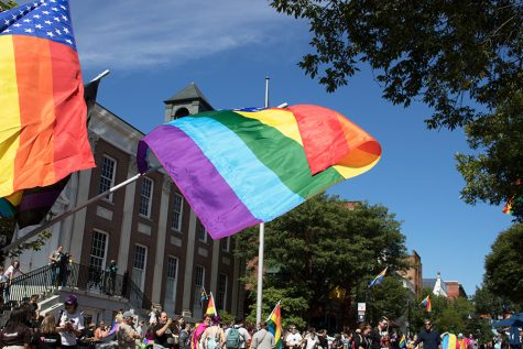 Pride flags blow in the wind on Church Street during the 2018 Pride Parade, September 2018.The Pride Vermont festival runs from Aug. 31 to Sept. 8, ending with a parade. Visit pridevt.org/parade to learn how to get involved.