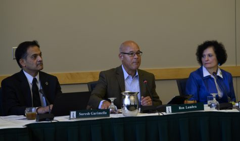 (Left to Right) President Suresh Garimella, Chair Ron Lumbra and Provost Patricia Prelock sit at a board of trustees meeting, Oct. 26.