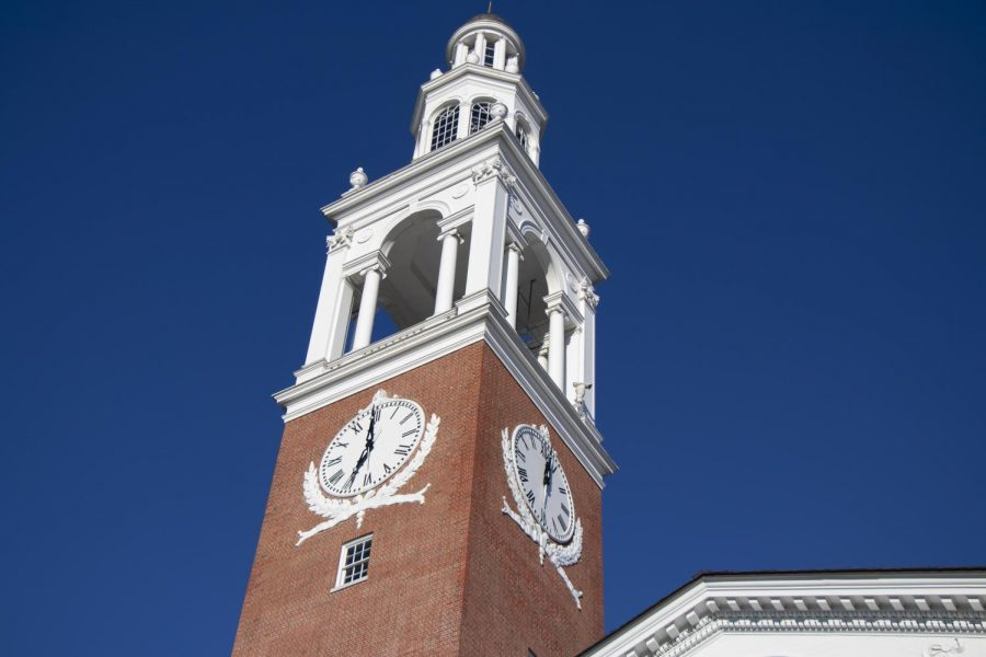 The clocktower of the Ira Allen Chapel stands in front of a background of cloudless sky, Oct. 5. The clock currently does not keep the correct time because of mechanical issues.