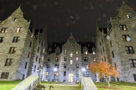 Converse Residence Hall stands against the weather as rain begins to fall, Oct. 23. Converse is considered to be haunted by some students.