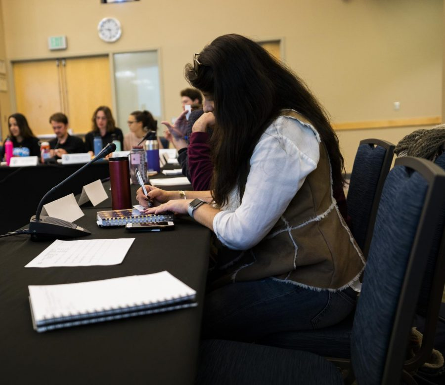 SGA Senators indicate with a Y or N on a paper ballot Oct. 15. SGA passed a resolution giving their business administrator, a UVM employee the power to change their stipends.