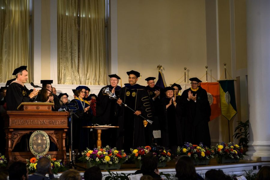 In a symbolic transfer of power, UVM's new President, Suresh Garimella, was handed the University mace and presidential medallion. Garimella was installed as the 27th President of UVM, Oct. 3 in the Ira Allen Chapel.