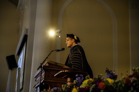 President Suresh Garimella is presented with the University mace at his Installation Ceremony, Oct. 4. During his address, Garimella said he is committed to bettering both UVM and Vermont.