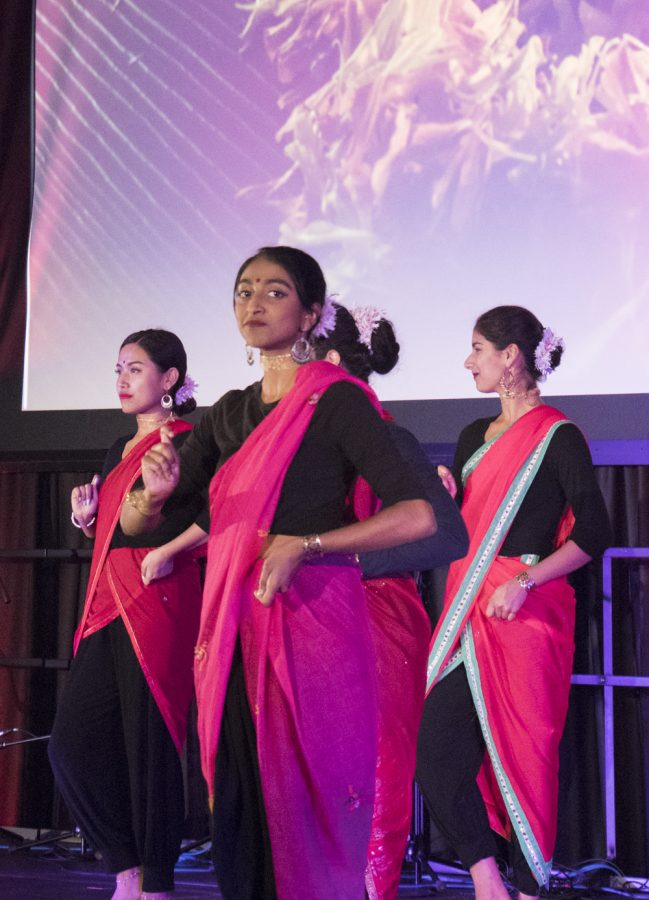 Members of the Jazbaa dance company perform during the Diwali celebration Oct. 27. The festival of Diwali was first mentioned in Sanskrit texts dating back to the first century C.E.