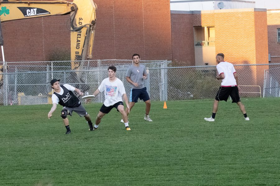 Members of the men's Ultimate Frisbee team practice on an intramural field on campus, Oct. 10. Officially started in 1969 and begining at UVM in 1986, Ultimate Frisbee is often seen as a fun alternative to more official athletics, according to the women's team's website.