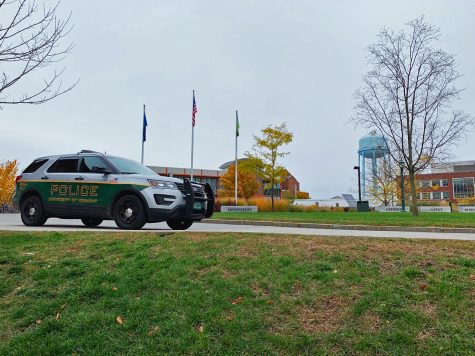 A UVM police car sits in the Davis Center circle, Oct. 25, 2019.