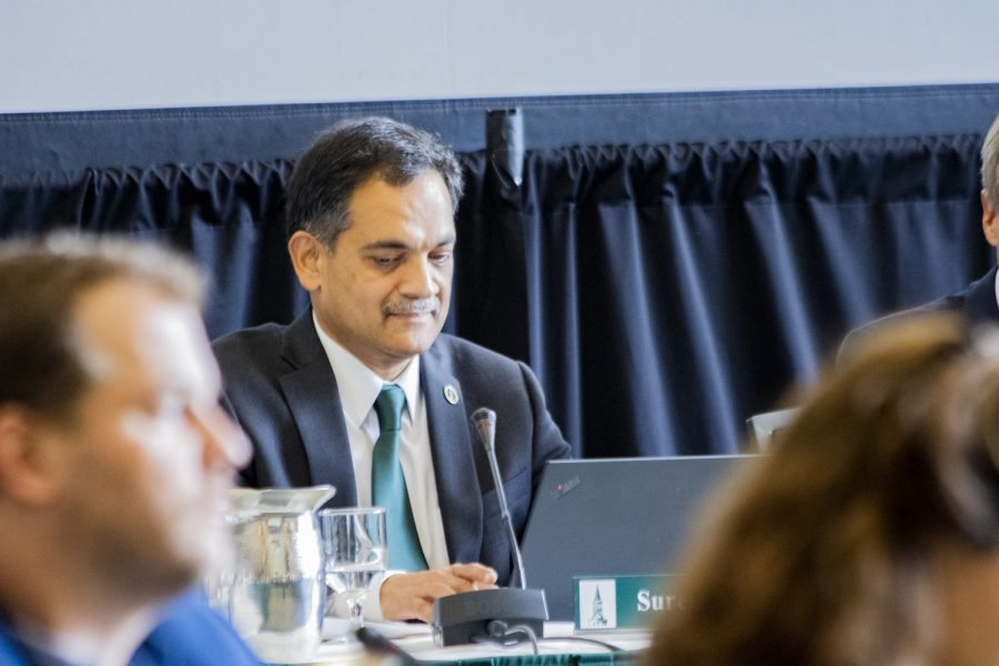 President Suresh Garimella sits during the board of trustees meeting, Oct. 25, 2019.