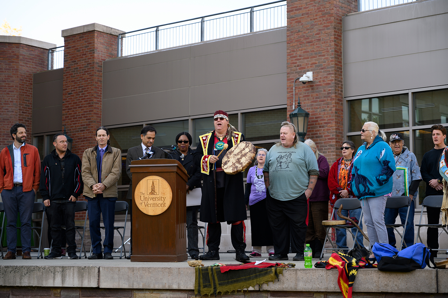 Members of the Abenaki Tribe and Burlington community participate in Indigenous People's Day celebrations, Oct. 15. Two Abenaki Chiefs, Chief Don Stevens and Chief Roger Longtoe Sheehan, as well as Lt. Governor David Zuckerman and President Suresh Garimella, were present at the event.