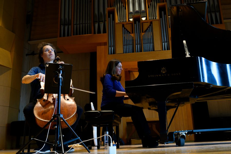 Cellist Matt Haimovitz (Left) and pianist Simone Dinnerstein (Right) rehearse before their performance in the UVM Recital Hall, Oct. 11. Dinnerstein has performed with ensembles such as the London Symphony Orchestra, and Haimovitz made his debut with the Israel Philharmonic at age 13.