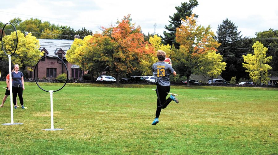 Sophomore Jacob Curtis participates in a Quidditch team practice, Sept. 24. After five-year break from national competition, the team plans to rejoin the U.S. Quidditch League in the coming months.