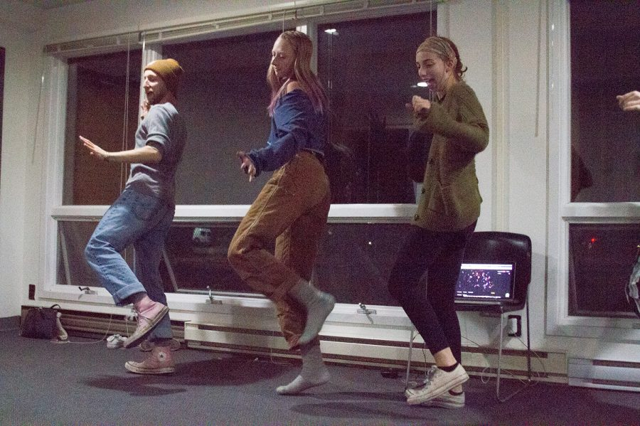 (Left to Right): Junior Cobalt Tolbert, junior Em Lyden and sophomore Zoe Silverman practice for the UPB production of Rocky Horror Picture Show, Oct. 22. The student-run show will be performed at 8 p.m. Oct. 31 at the Roxy Cinema.