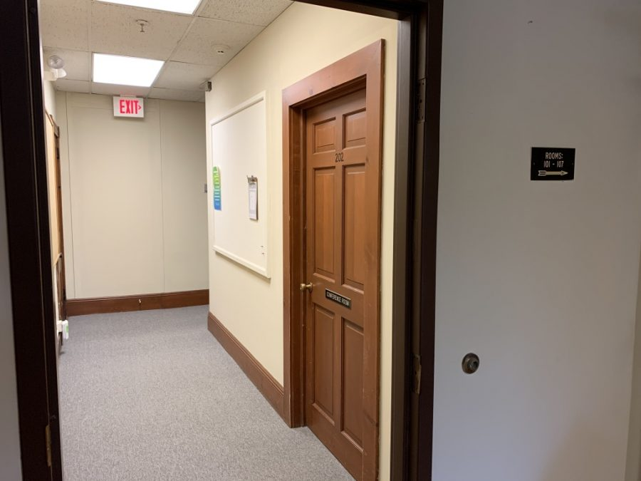 Behind this door, Burlington and UVM officials met to discuss proposal for an intersection a student research group deemed unsafe. Student Journalists were barred from that meeting.