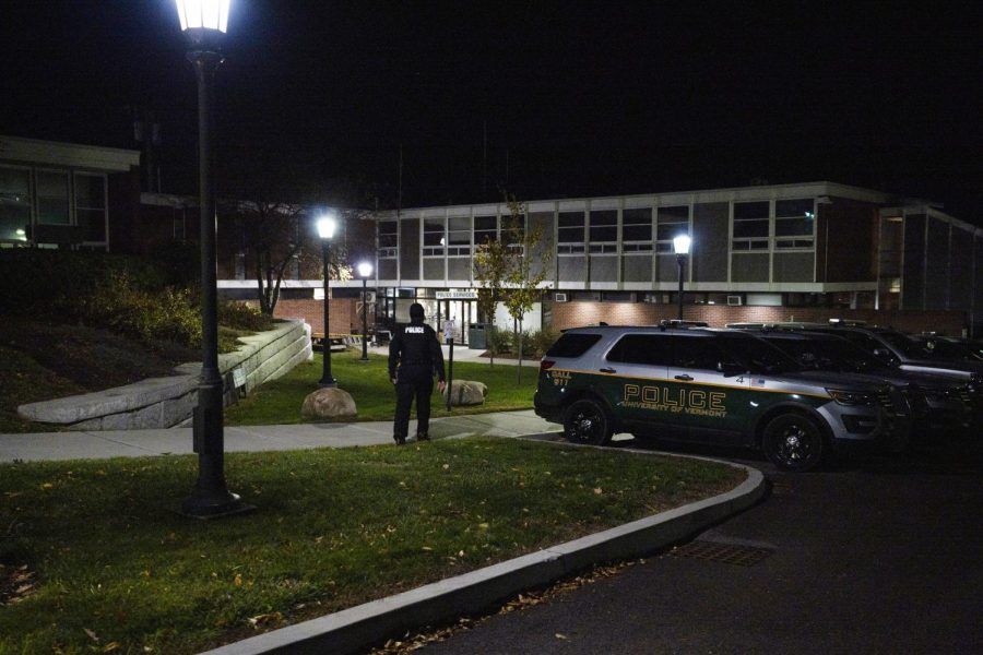 UVM Police Officer Kariym Azeez walks towards the UVM Police Services building, Oct. 20. Azeez is one of 19 officers who have been operating without Chief Leanne Tuomey for the past three months.
