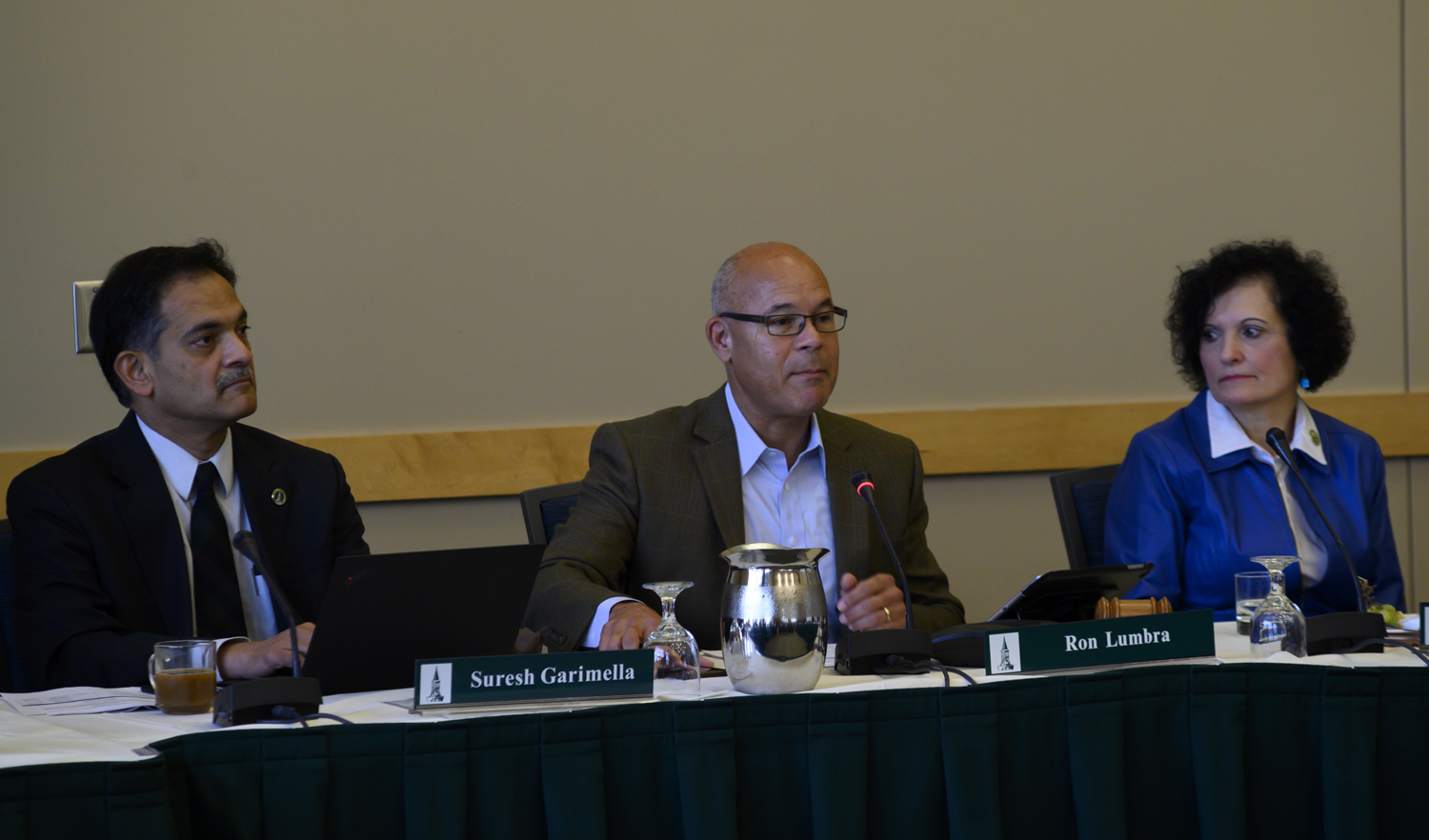 (Left to Right) President Suresh Garimella, Vice Chair Ron Lumbra and now Provost Patricia Prelock sit at a board of trustees meeting, Oct. 26. Prelock was appointed Provost this afternoon by President Garimella.