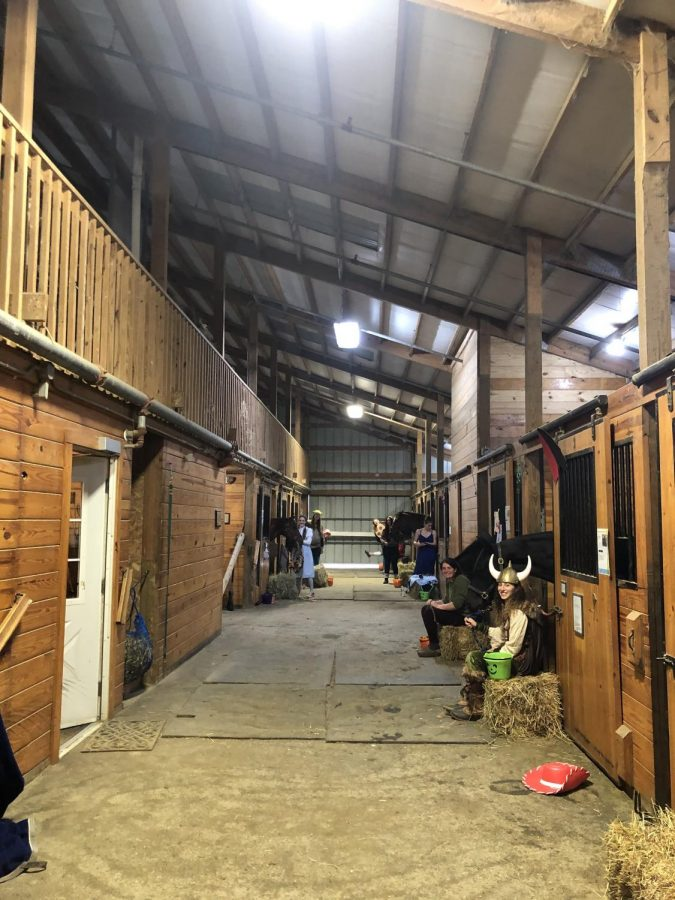 Trick-or-treaters celebrate Halloween at Horse Barn