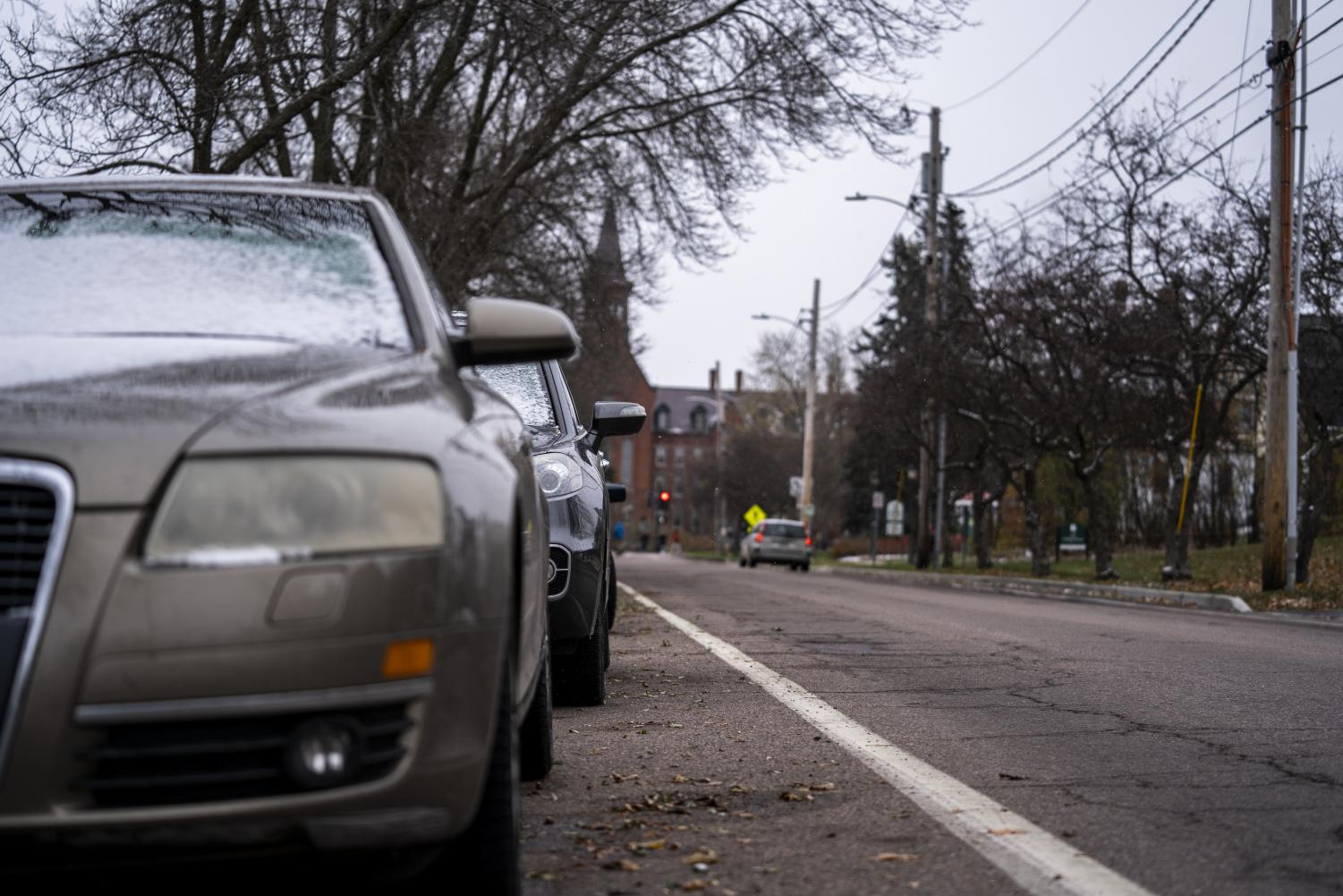 The cars seen here parked on Burlington's College street will have to move before 10 p.m. tonight. A parking ban is in effect from Nov. 11 at 10 p.m. until Nov. 12 at 7 a.m. throughout the city of Burlington.