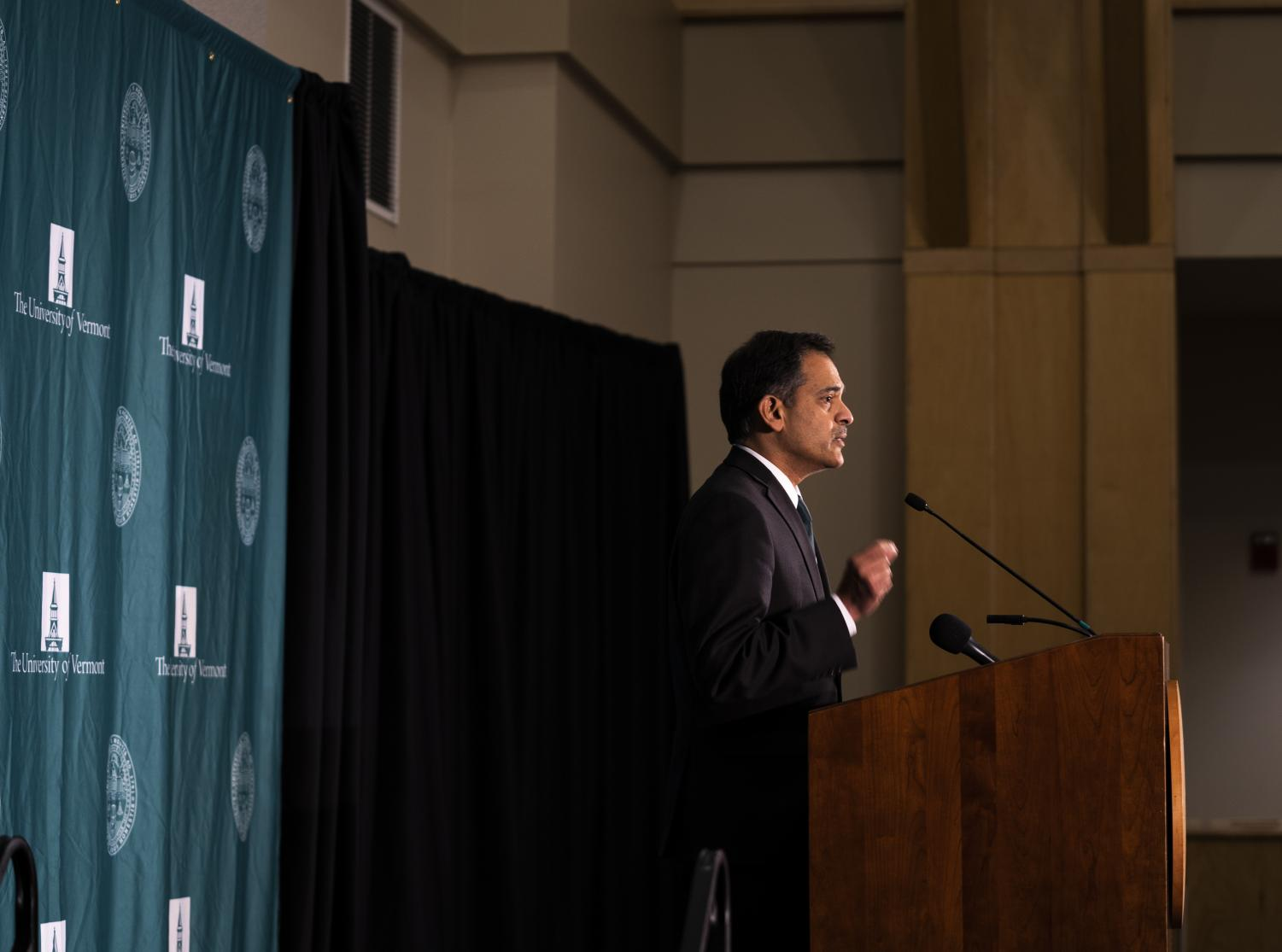 President Suresh Garimella addresses assembled media at a press conference, Nov. 14. There will be no tuition increase for the 2020-21 school year pending board of trustees approval, Garimella said at the conference.