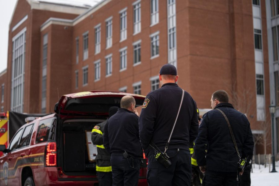 Members of the Burlington Fire Department convene in front of Discovery Hall, Nov. 15. The firefighters were called in response to an incident within Discovery.