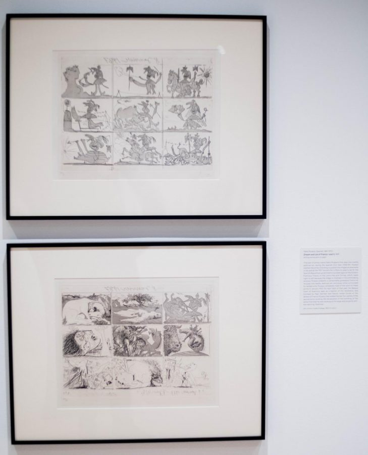 """Pablo Picasso's """"Life of Franco I"""" adorns the wall of the exhibit """"Resist! Insist! Persist!"""" in Fleming Museum, Nov. 8. The print was one of Picasso's first overtly political works of art."""