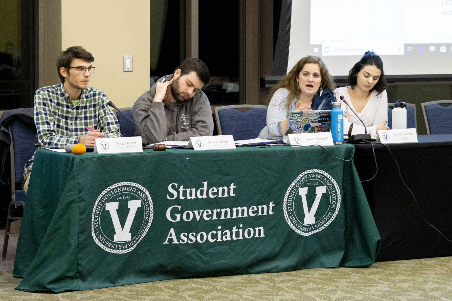 (Left to Right) Speaker of the Senate Zach Merson, SGA Vice President Owen Doherty, SGA President Jillian Scannell and SGA Treasurer Taylor Gauthier sit at a table during a weekly SGA meeting, Nov. 5. The meeting discussed the use of unauthorized payment apps such as Venmo.