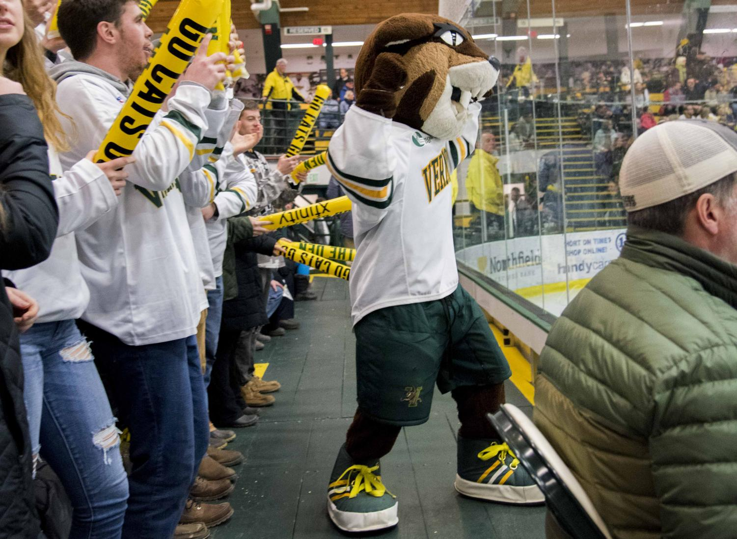 Cat attends a men's hockey game, Nov. 30, 2018. Rally works during hockey games to pump up the crowd with cheers and dances.