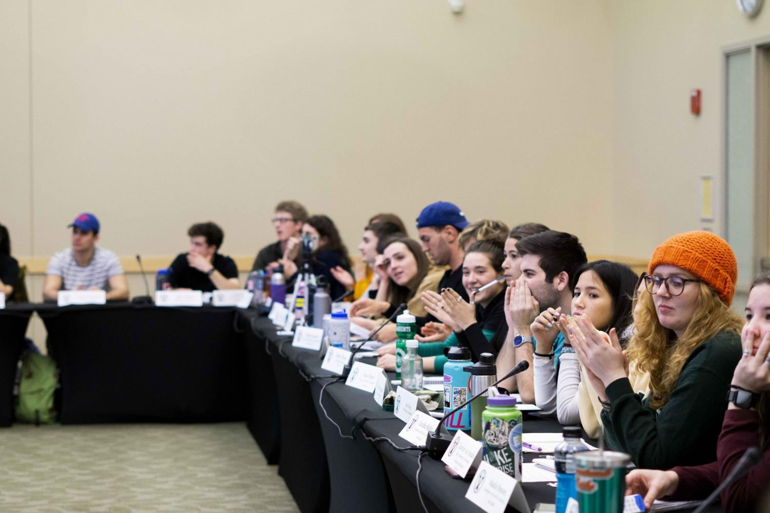 SGA senators sit during a meeting, Nov. 5. A resolution to not increase the student activity fee passed at the meeting.