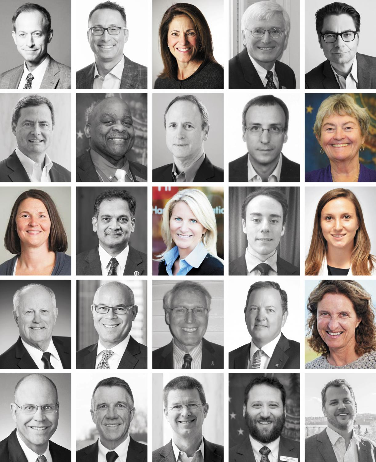 Pictured above are the 25 members of the board of trustees in alphabetical order by last name. The photos of the 19 men on the board are converted to grayscale, leaving only the six women – 24% of the board – in color.
