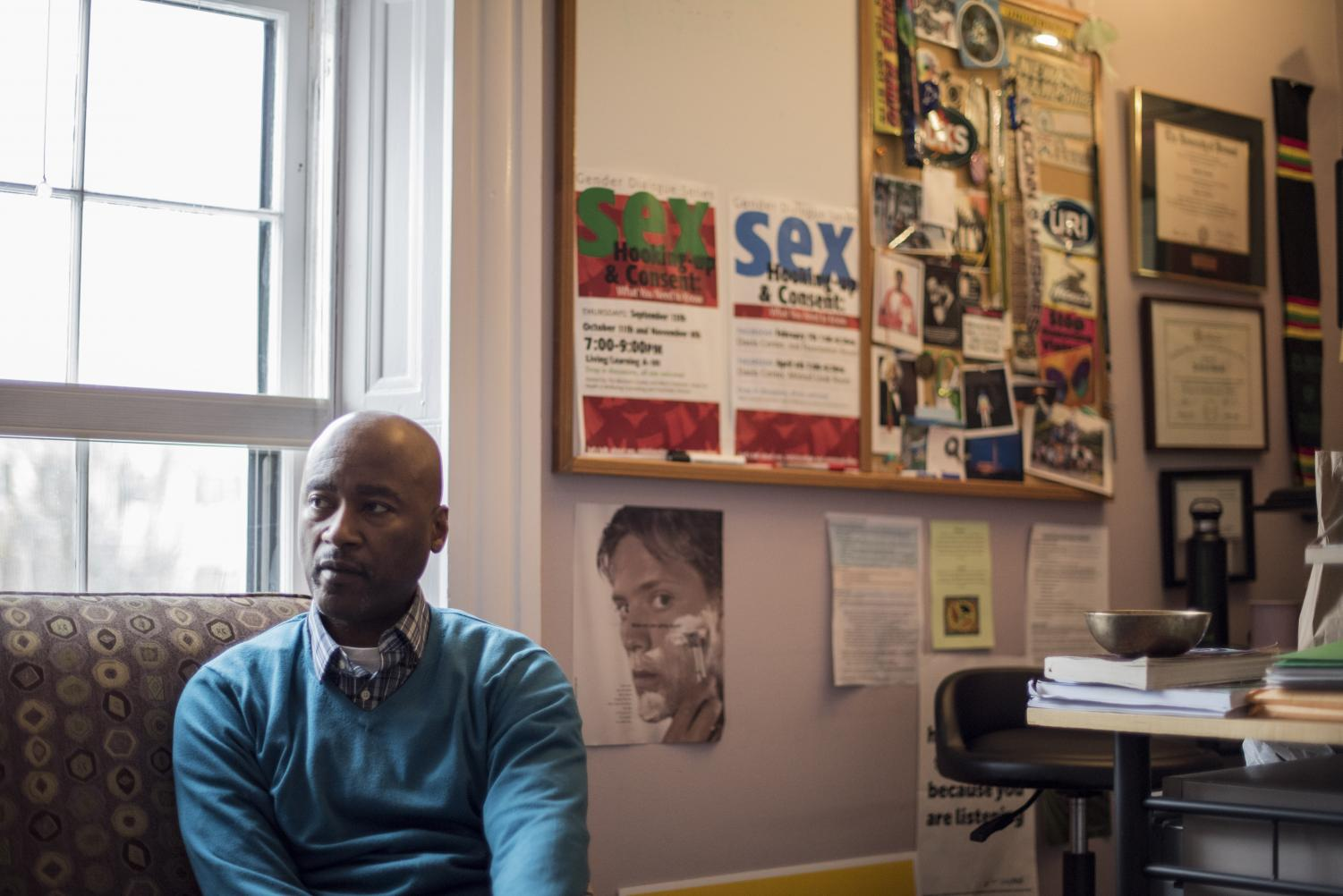 Keith Smith, adviser for One in Four and the Men's Outreach Coordinator at UVM Counseling and Psychiatry Services, sits in his office, Dec. 5. The men's group has experienced membership decline this semester.