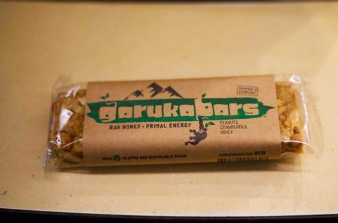 A Garuka Bar rests on a table, Nov. 22. Garuka Bars are sold in numerous locations on campus, including Henderson's cafe and the Cyber Café.