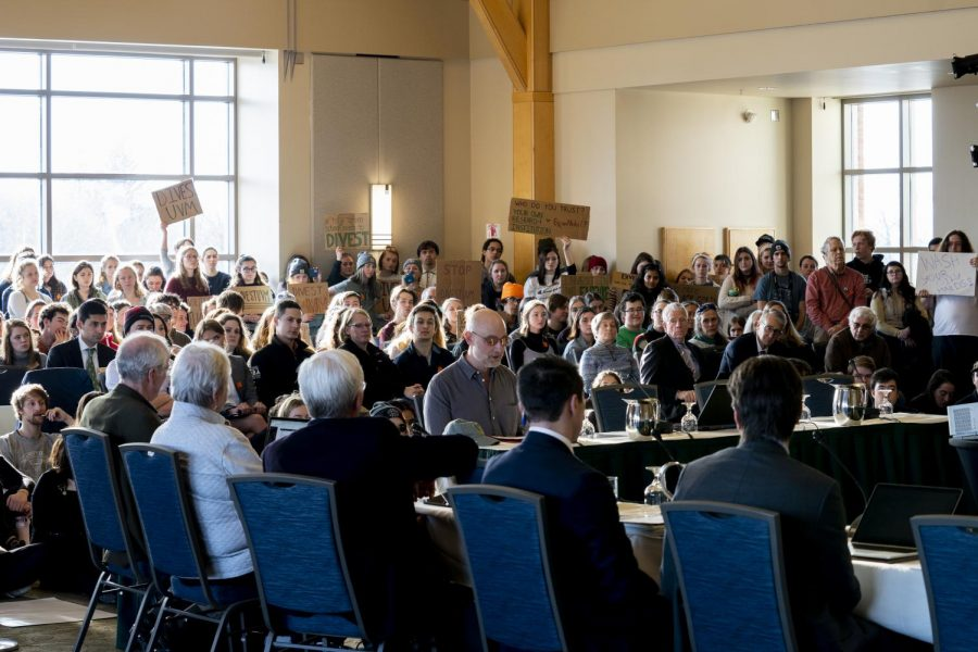 Doctor Paul Bierman, professor of Geology, addresses the board of trustees during a public comment session, Jan. 31.