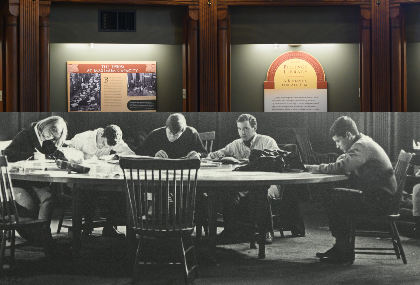 A historic black-and-white photo from UVM Special collections shows students smoking and studying in the apse in Billings Library. Today, the apse is a space dedicated to telling the history of the building.