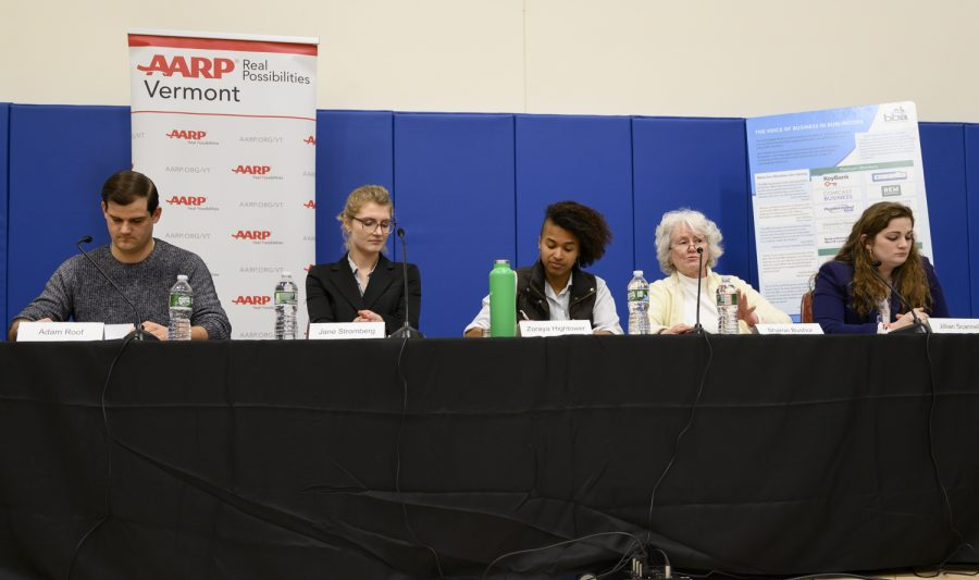 Candidate Sharon Bushor responds to a question. The candidates were each given 60 seconds to respond to questions.