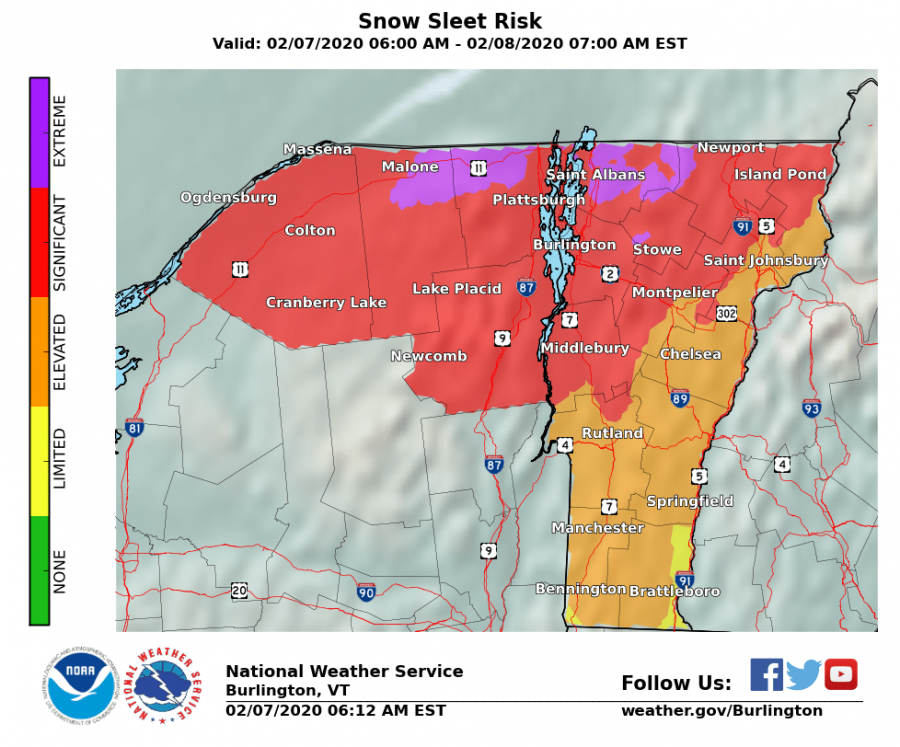 Pictured here is the snow sleet risk for Vermont from the National Weather Service from Feb. 7 through Feb. 8.