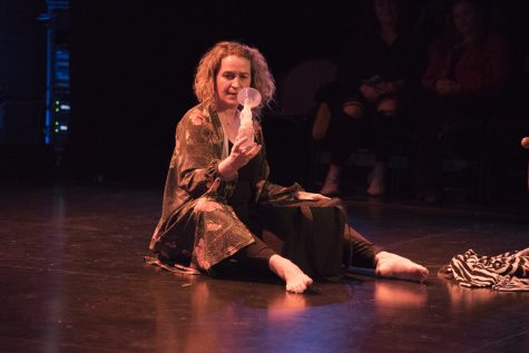 Lecturer Julie Peoples-Clark performed a dance that expressed her experience as a mother at the UVM Dance Faculty Showcase Feb. 13 at the Flynn Space.
