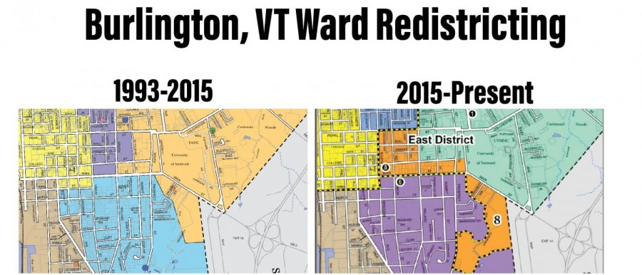 Left: a map of the wards the city of Burlington used from 1993 until 2015. 