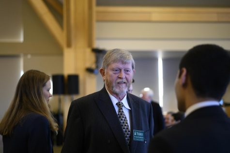 Richard Galbraith, UVM vice president of research, stands before a board of trustees meeting, Jan. 31. Galbraith will continue his work at the UVM Cancer Center.
