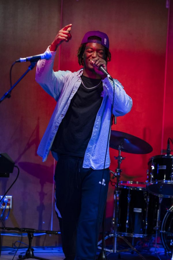 Rapper Prince Lood performs during the Battle of the Bands competition, March 4. Lood opened the third night of the three-night competition.