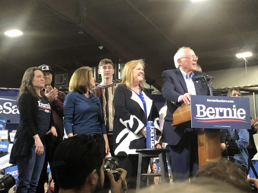 Senator Bernie Sanders and various guests take the stage.