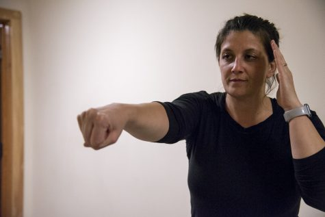 Liz Learned, an investigator for Chittenden Unit for Special Investigations, demonstrates self-defense techniques, Feb. 25. Learned has been teaching R.A.D. since 2016.