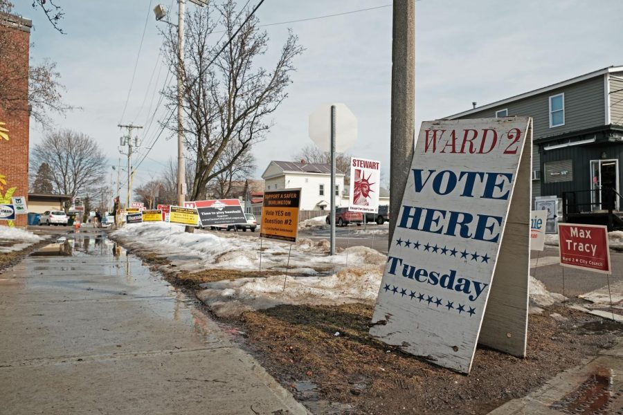 A sign indicates the Ward 2 polling place in Burlington, March 3, 2020.